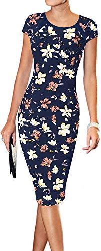 (LunaJany Women's Floral Print Sexy Wear to Work Office Career Sheath Midi Dress L Navy Pink)