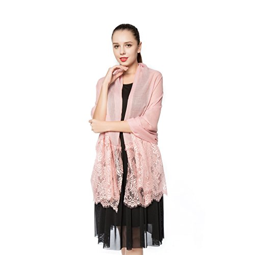 Women Lightweight Fashion Lace Scarf Winter Wrap Shawl Gzcvba Soft Evening Coverup (Skin pink)