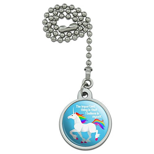 GRAPHICS & MORE Unicorn The Important Thing is That I Believe in Myself Ceiling Fan and Light Pull Chain