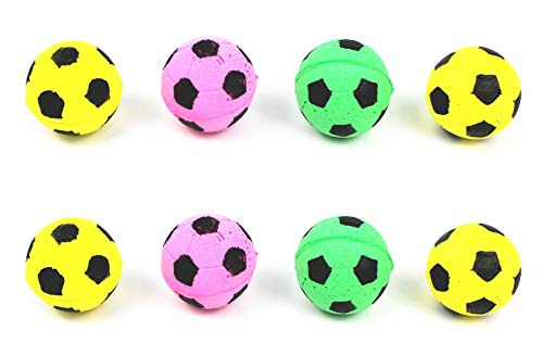 YOFAN 8 Pack Foam/Sponge Soccer Ball Cat Toy, Interactive Cat Toys, Pet Kitten Cat Exercise Toy Balls for Real Cats…