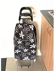DC 2163 Shopping Trolley Foldable Oxford Fabric Flower Bag Luggage Wheels Folding Basket (Black)