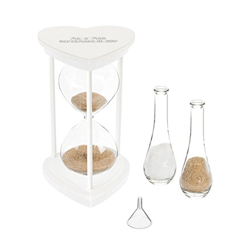 Sands of Time Hourglass Unity Sand Ceremony Candle Alternative (Personalized Silver Set)