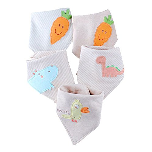 4-Pack Baby Bibs Bandana Drool Bib Set for Boys and Girls, Organic, Adjustable, Ultra Soft and Absorbent, Hypoallergenic, Newborn and Baby Shower Gift for Drooling and Teething (Triangle no stripe) Soft Classic Baby Cupcake