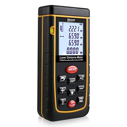 Tacklife Laser Entfernungsmesser Distanzmessgerät 0,05~40m/±2mm mit LCD Hintergrundbeleuchtung, inkl.Batterie und Schutztasche [Viewee]