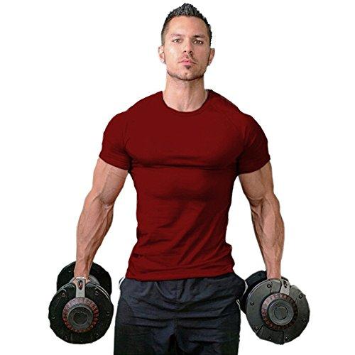 (ZUEVI Men's Cotton Slim Fit Athletic Bodybuilding T-Shirts(Wine Red-L-M))