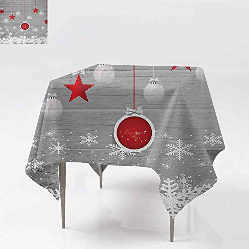 DILITECK Square Polyester Tablecloth Christmas Traditional Celebration Theme with Pendant Stars Baubles Ornate Snowflakes Great for Buffet Table W50 xL50 Grey Red White