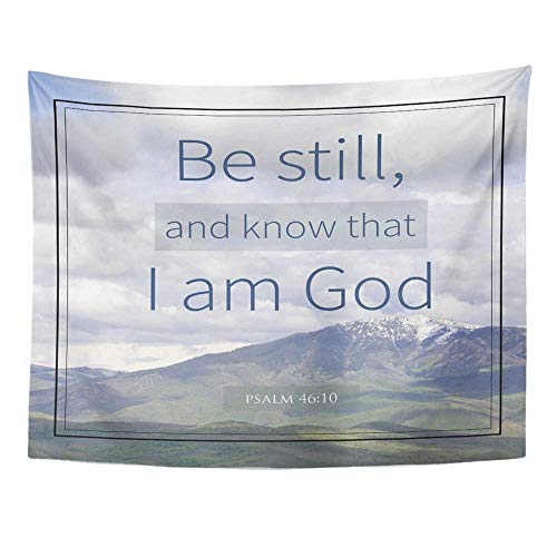 (SPXUBZ Wall Tapestry Quote Psalm 46 10 Bible Verse Mountain Scripture Christian God Church Faith Wall Hanging Decoration Soft Fabric Tapestry Perfect Print for House Rooms)