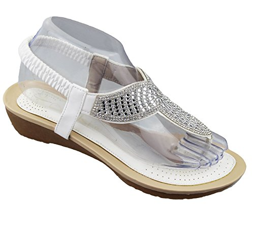 KOLLACHE Womens Diamante Embellished Sandals Ladies Summer Wedge Heel Toe Post Wedding Beach Shoes White 4pLc6