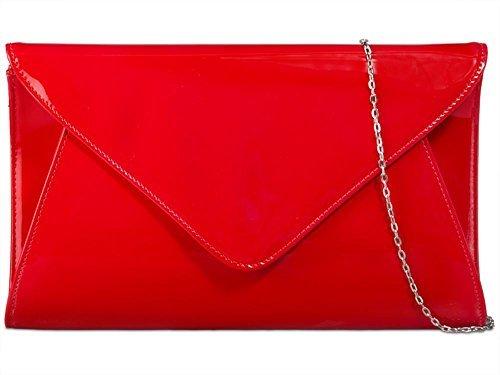 nouvelle Medium CUIR SIMILI bal sac Rouge main 3D enveloppe sac à dames Rouge VERNI à Womens soirée main tafqw55