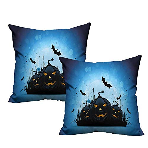 Iridescent cloud Creative Pillowcase Halloween Scary Pumpkins in Grass with Bats Full Moon Traditional Composition Cushion W17 x L17 Black Yellow Sky Blue -