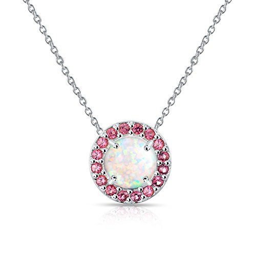 GemStar USA Sterling Silver Simulated White Opal and Simulated Garnet Round Halo Necklace