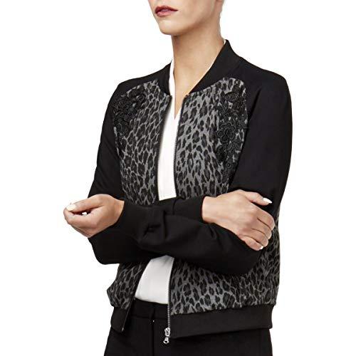 Kobi Womens Gayle Leopard Embroidered Bomber Jacket Black ()