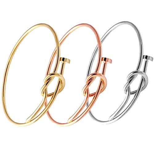 SENFAI Twist Knot Nail Bangle Heart Knot Bracelet Stack Bangle Cuff (Gold + Rose Gold + Silver)