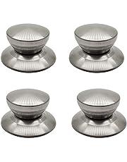 4Pcs Stainless Steel Pot Lid Knobs, Pot Lid Cover Knob Handle, Cooker Pan Pot Kettle Cover Handle Knob Kitchen Universal Casserole Glass Lid Pot Knob Cookwares Replacement (sliver)