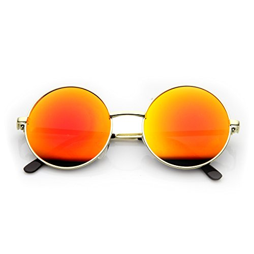 zeroUV - Round Large Lennon Style Flash Mirror Festival Sunglasses (Gold - Festival Sunglasses