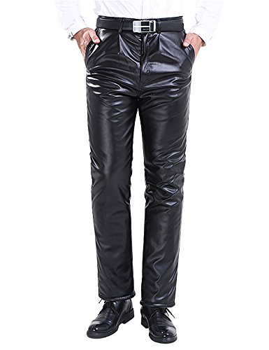 Jeans Pants Velvet (Idopy Men`s Winter Classic Business Faux Leather Pants with Velvet Lined 33)