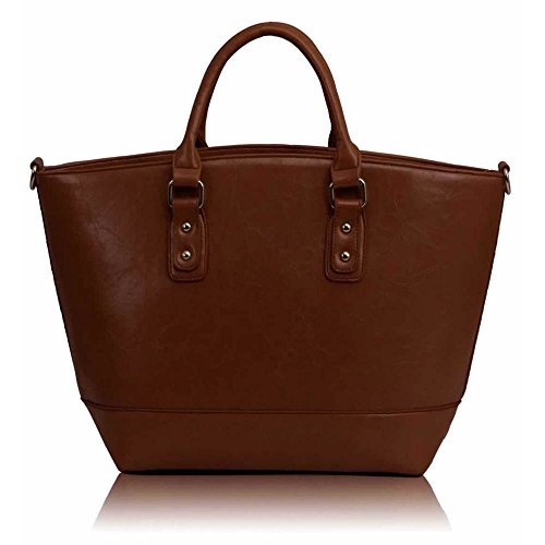 LEESUN LONDON - Bolsa mujer, color beige, talla L F - Brown1