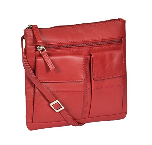 Borsa del Croce Corpo Turin Rosso Borse a Tracolla in Pelle del Donna 20x22x1cm