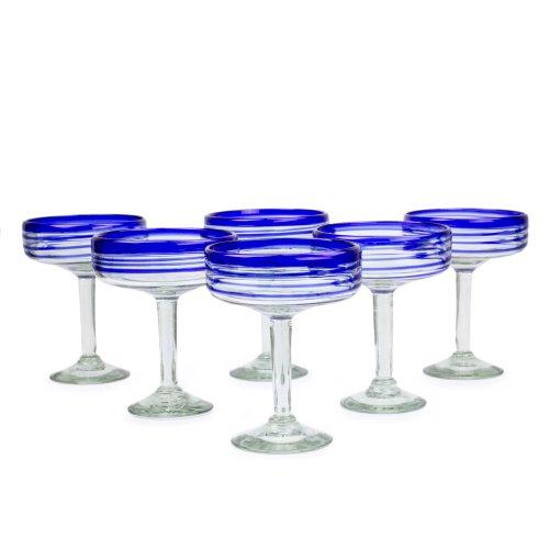 UPC 808773025653, NOVICA Hand Blown Blue Recycled Glass Margarita Glasses, 8 oz 'Cobalt Spirals' (set of 6)