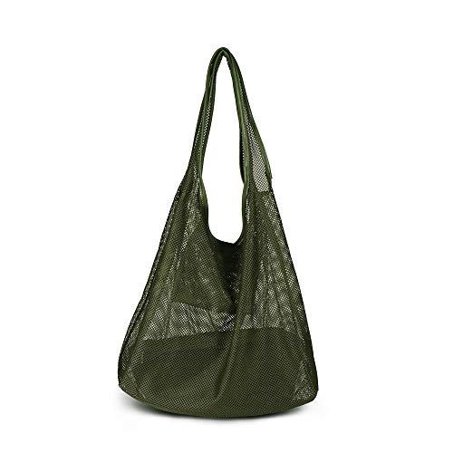 Women Handle Bag Oversized Carry Totes Beach Bag Mesh Handbag String Bag Summer Hobo Bag (green)