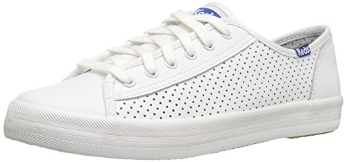 Keds Women's Kickstart Retro Court Perf Leather Fashion Sneaker, White/Blue, 10 M US