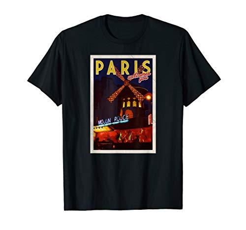 Cute Paris Postcard Moulin Rouge Travel Boho France T Shirt (Moulin Rouge T-shirts)