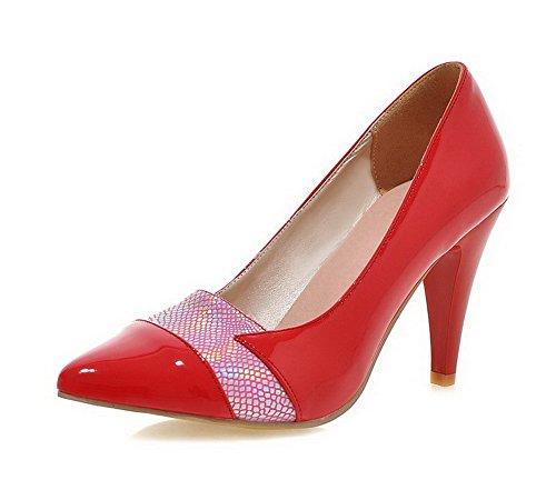 AllhqFashion Damen Spitz Zehe Hoher Absatz Gemischte Farbe Ziehen auf Pumps Schuhe, Rot, 40