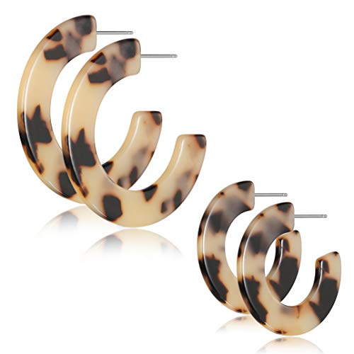(Half Hoop Earrings C-Shape Leopard Fashion Earrings Acrylic Resin Earrings for Women Bohemian Jewelry)