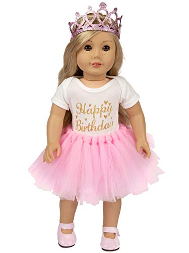 ibayda 3pc/Set Birthday Doll Clothes Accessories Include Skirt Rompers Headband for 18 Inch American Girl,OG Dolls and 43cm New Born Baby Doll,15inch Bitty Baby Doll (American Doll Party Supplies)