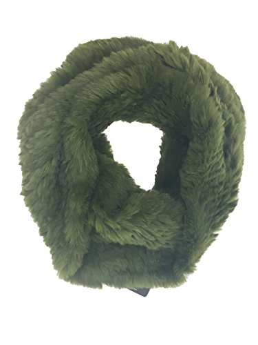 Adrienne Landau Knit Rabbit Cowl Olive Green Infinity Loop Cowl Scarf ()