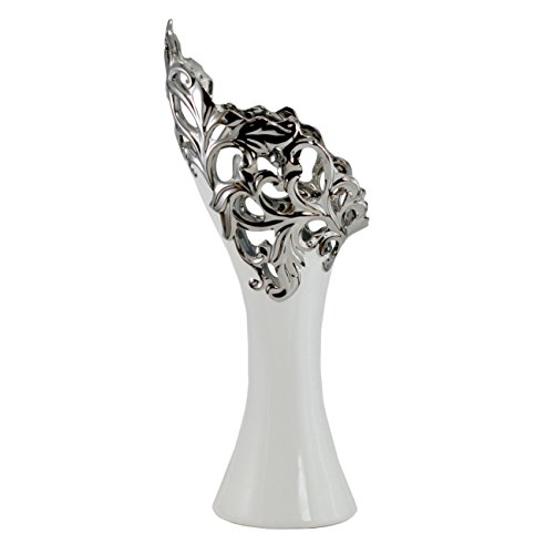 Tannex Ceramic Angel Vase with Silver Tips, 17.25-Inch