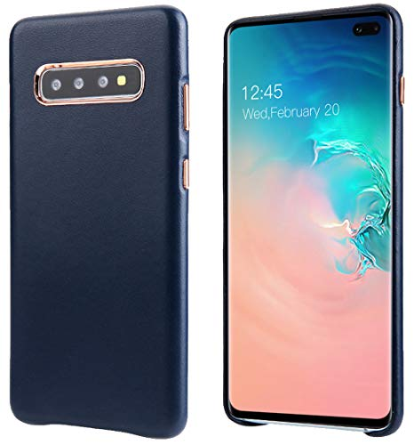 Galaxy S10+ Leather Case, Reginn Slim Fit Phone Cover [Wireless Charging Compatible] Full Grain Lambskin Leather Case for Samsung Galaxy S10 Plus (Blue)