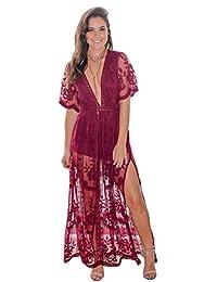 Eleter Women's Deep V-Neck Lace Romper Short Sleeve Long Dress