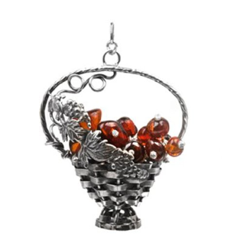 (Sterling Silver Amber Grapes Basket)