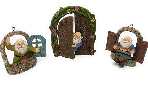 [Gianna's Home Welcome Window Garden Gnome Door Fairy Garden Tree Stump Miniature Decor, 4 pcs] (Making Elf Costume)