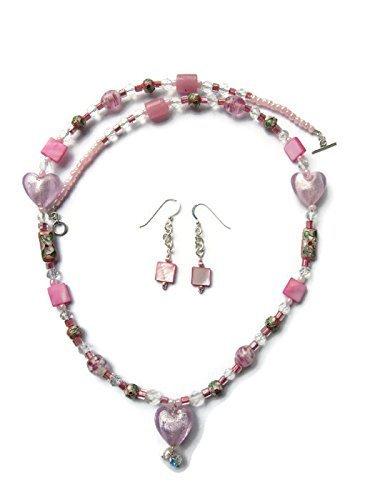 (Cloisonne' & Pink Foil Heart Glass Necklace & Earring Set)