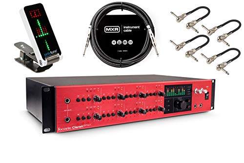 Focusrite Clarett 8PreX Thunderbolt Audio Interface - Bundled with TC Electronic PolyTune Clip, MXR 10ft TRS Cable, and 4 MXR Patch Cables