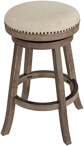 Cortesi Home Piper Backless Swivel Bar Stool in Solid Wood Beige Fabric, 30 H