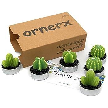 Ornerx Decorative Cactus Candles Tea Light Candles 6 Pcs