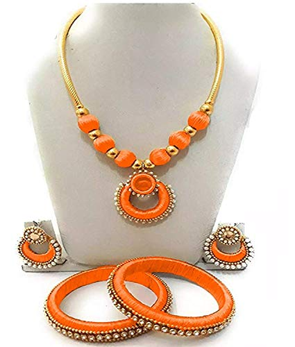 GOELX Silk Thread Orange Color Necklace with Designer Bangles and Earrings Set