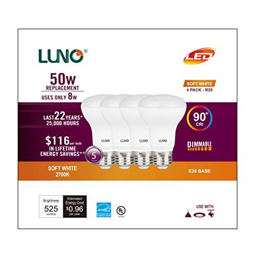 LUNO R20 Dimmable LED Bulb, CRI 90+, 8W (50W Equivalent), 525 Lumens, 2700K (Soft White), Medium Base (E26), UL & Energy Star (4-Pack)
