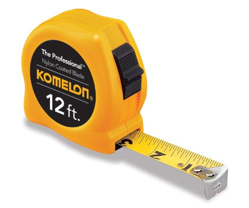 UPC 650056049128, Komelon 4912 The Professional Nylon Coated Steel Blade Tape Measure 12-Feet by 5/8-Inch, Yellow Case