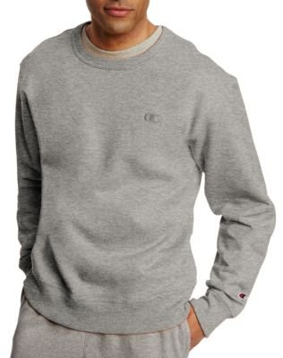 Champion Men's Powerblend Pullover Sweatshirt, Oxford Grey, Small