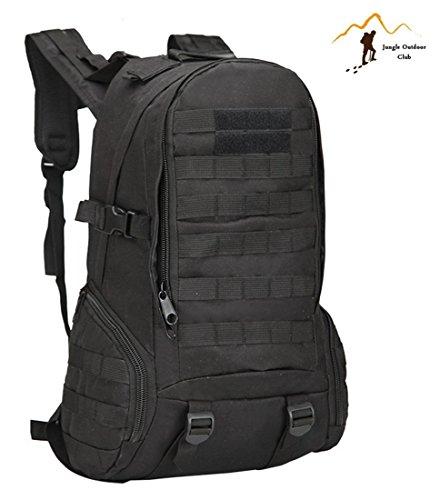 Jungle Oxford NEU Professionelle 40L 3D Rucksack Outdoor Reise Rucksack Molle Big Bags Camouflage Tactical Taschen Wild Rucksack Tasche Wandern Klettern Rucksack, Schwarz
