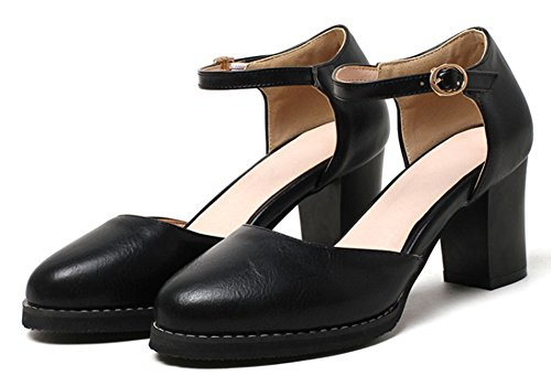 Aisun Round Simple DOrsay Buckled Chunky Mid Strap Fashion Black Sandals Womens Dressy With Toe Ankle Heel ACqrAw