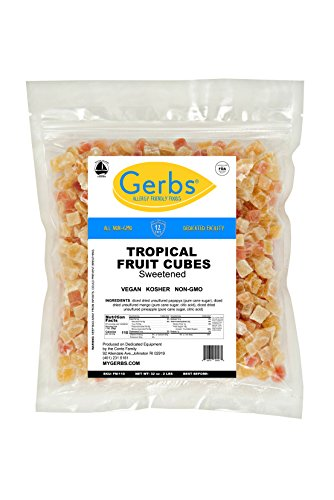 Tropical Fruit Mix Cubed, 2 LBS By Gerbs - Top 12 Food Allergy Free & NON GMO Sulfur Dioxide & Preservative Free - Diced Mango, Pineapple, Papaya (Mango Diced)