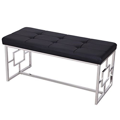 Adeco Stainless Steel Bench Entryway Footstool with Button, Tufted PU Leather - Black