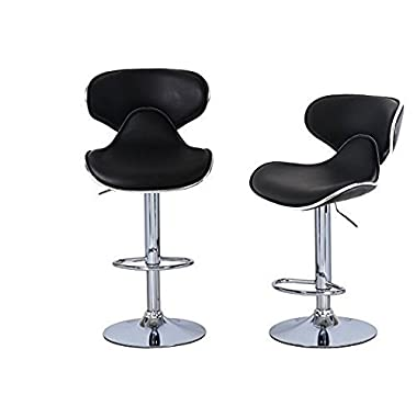 Joveco 360 Degree Swivel Adjustable Saddleback Design Bar Stool - Set of 2 (Black)