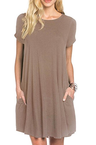 TINYHI Women's Swing Loose Short Sleeve Tshirt Fit Comfy Casual Flowy Tunic Dress, Medium, S_coffee_pocket