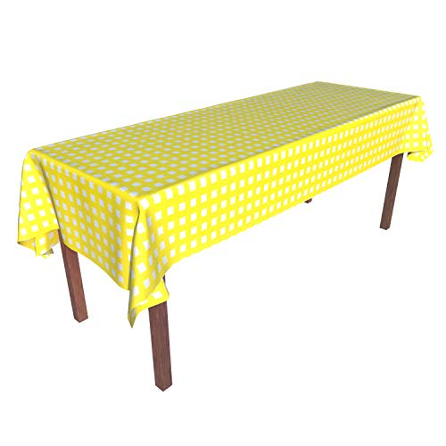 Heavy Duty Disposable Plastic Tablecloth Tablecover Rectangle Yellow White Gingham Checkered 54 Inch. x 108 Inch. 6 Pack Party Picnic Outdoor Beach ()